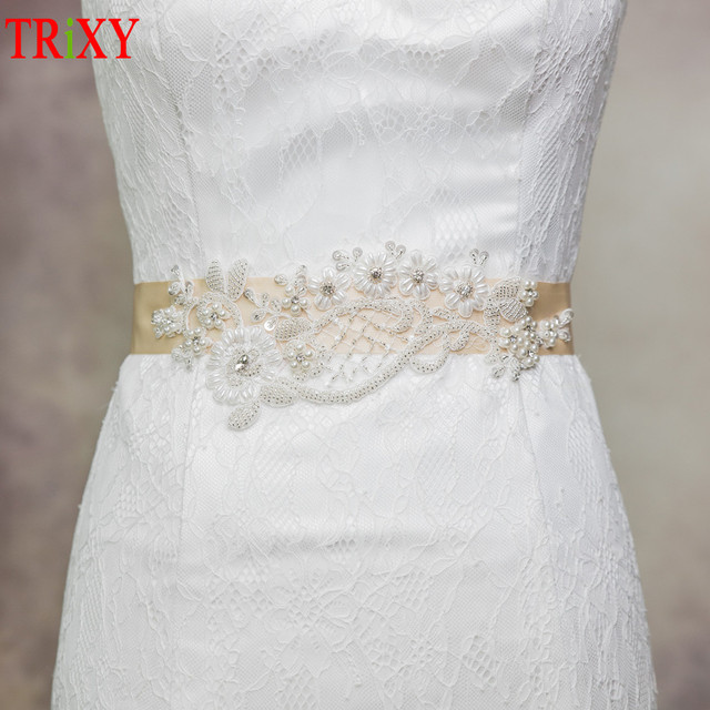 Trixy A91 Rhinestones Pearl Wedding Dress Belts Exquisite Lique With Pearls Beading Bridal Belt Sashes