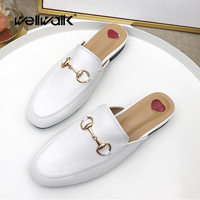 Fashion Women Mules Lady Half Slippers 2018 Lady Flat Mule Square Toe Shoes Casual Summer Women Slipper High Quality Women Shoes
