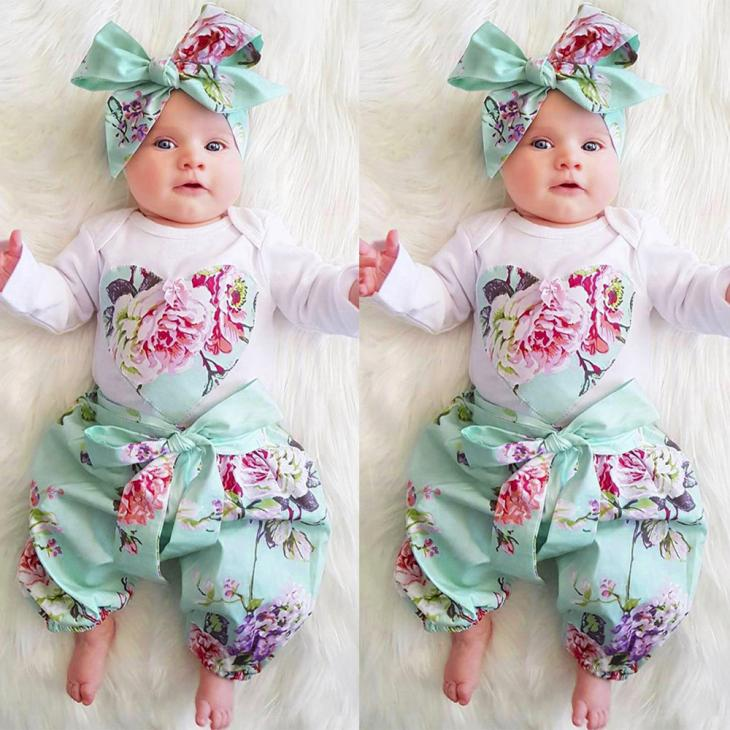 TELOTUNY new born baby clothes baby girl clothes 3pcs Toddler Infant Baby Girls Floral Clothes Set Tops+Pants+Headband M27 cute newborn baby girl bodysuit headband outfits floral sunsuit clothes flower infnat toddler girls summer 3pcs set playsuit