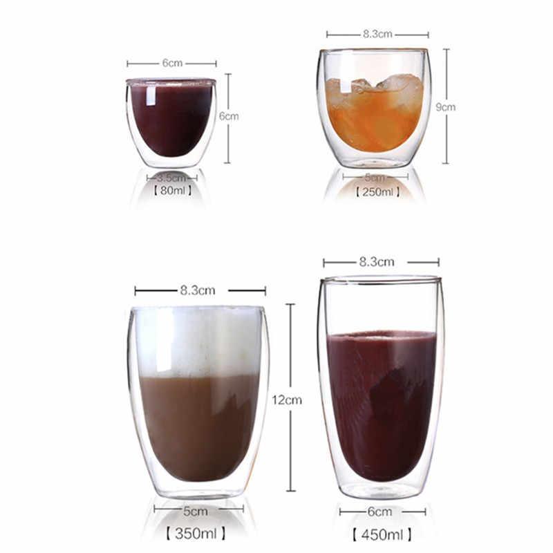 80/250/350/450 Double Dinding Kaca Kreatif Gelas Anggur Champagne Wiski Cokelat Kehitaman Teh Cangkir Jus Mug susu Cafe Cup