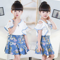 3-12Y meninas Coreano roupas de verão plissado qualidade top/camisa/t e algodão floral saia tutu terno azul tule meninas conjunto saia