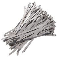 100pcs 5.9 Inches Stainless Steel Exhaust Wrap Coated Locking Cable Zip Ties