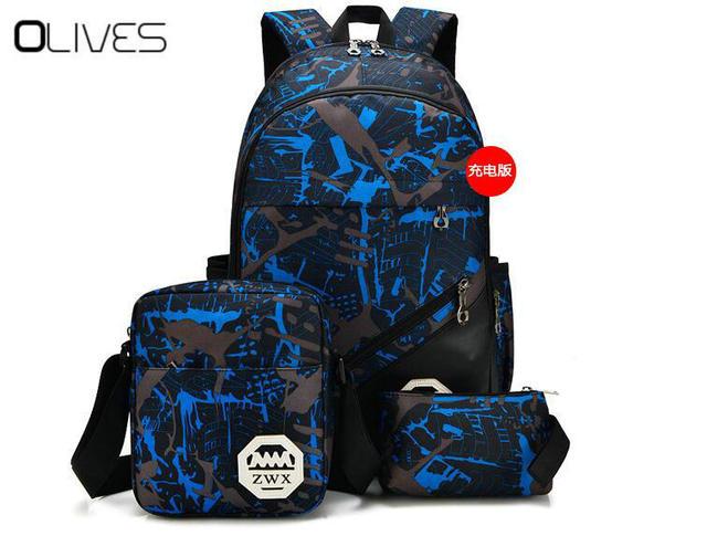 b1b2cd4840844 3 pcs USB Erkek sırt çantası çanta seti için kırmızı ve mavi yüksek okul  çantası erkek