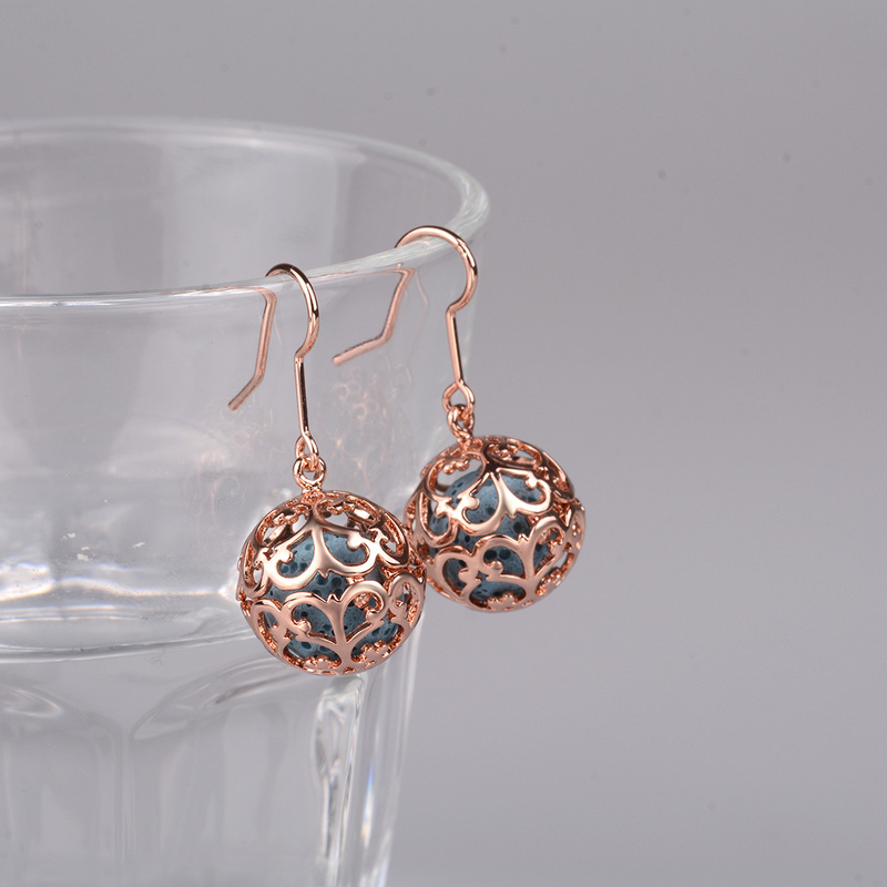 EUDORA 12mm Flower of life Cage Drop Earring Rose Gold Aromatherapy Hook Earring fit Lava Stone Ball Angel Caller Jewelry HR09 in Drop Earrings from Jewelry Accessories