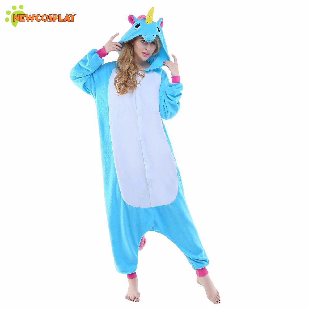 newcosplay adult onesies pajamas unicorn blue horse cosplay halloween costumes for women unisex. Black Bedroom Furniture Sets. Home Design Ideas