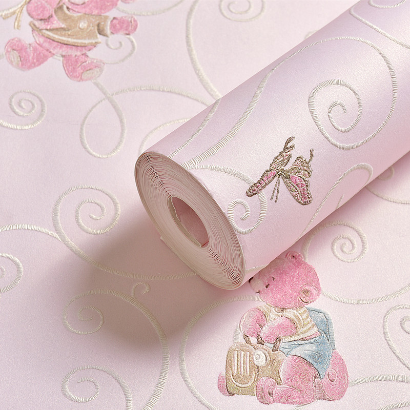 3D Thickened Non-woven Wallpaper Wall Covering Roll Cartoon Bear Children Bedroom Girl Boy Room Decoration Wallpapers For Wall beibehang non woven pink love printed wallpaper roll striped design wall paper for kid room girls minimalist home decoration