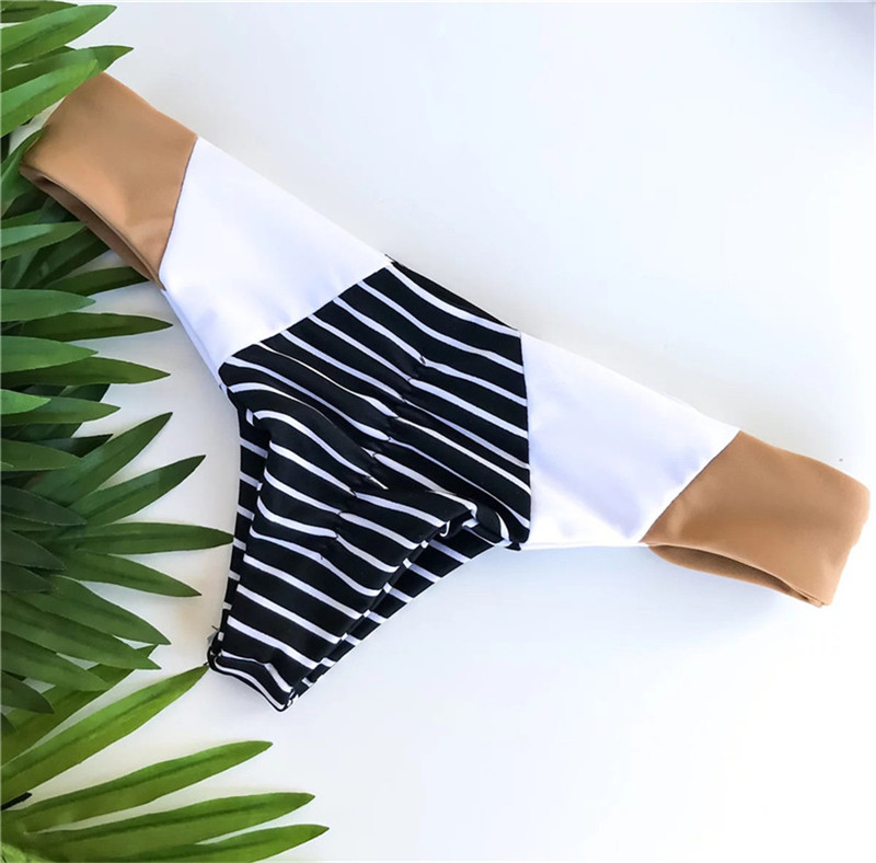 Trendy color block bikinis with straps in back 1
