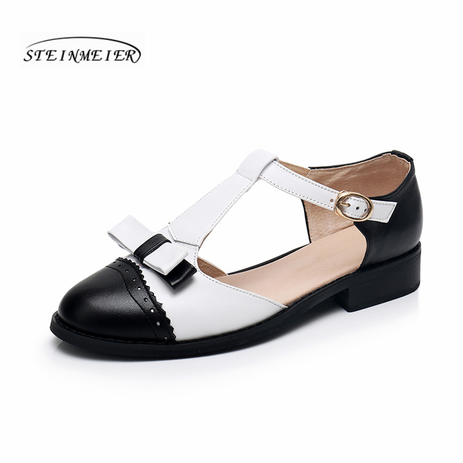 Women genuine cow leather summer sandals vintage handmade bow blue pink white oxford shoes for women sandals shoes 2018 spring aardimi 100% cow leather oxford shoes for woman spring