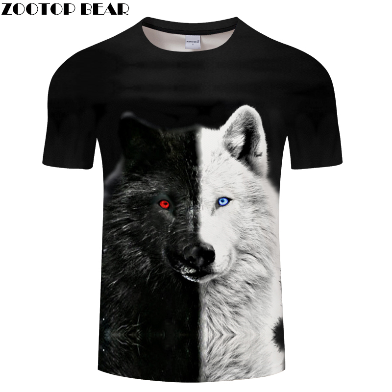 Ying and Yang Wolf Men tshirt Streetwear   t     shirt   Casual   T  -  shirt   3D Tee Harajuku Top Black ShortSleeve Unisex DropShip ZOOTOPBEAR
