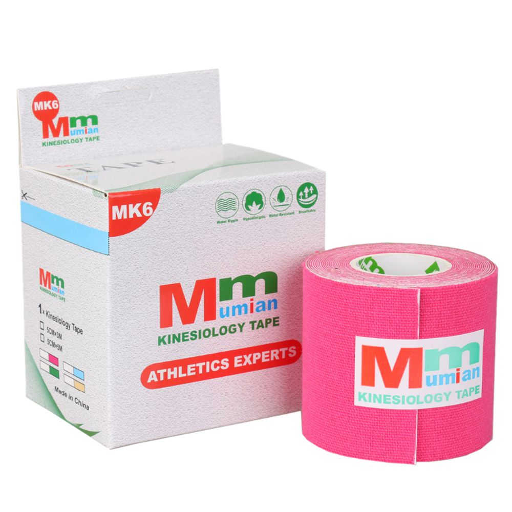 Mumian 5 cm x 3 m Intramuscular effect Tex Tapes Tape Athletic Strapping Intramuscular effect Tape with Case rose Red