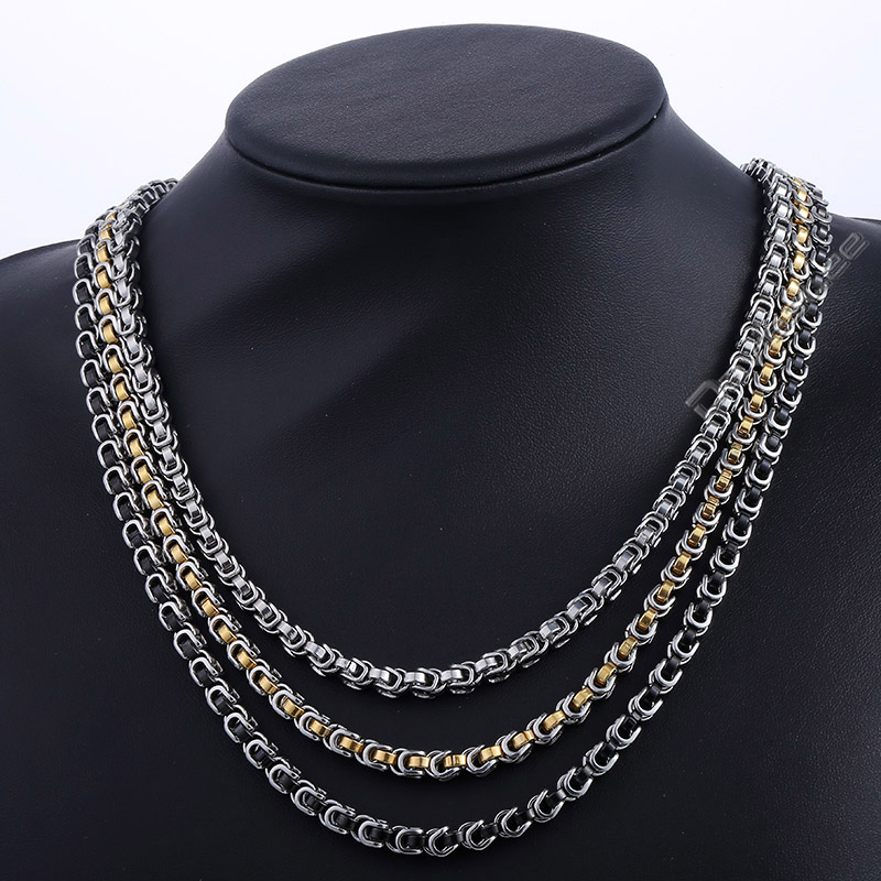 Davieslee 5mm Stainless Steel Byzantine Box Link Silver Gold Silver Silver Black Tone Mens Boys Chain Necklace DLKNM138