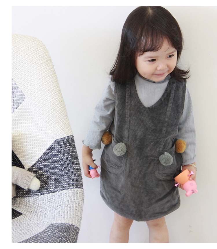 Autumn Winter Baby Girls Dresses Fashion Kids Corduroy Dresses for Girls New Vintage Toddler Girl Clothing Dress with Pom Poms corduroy overall dress