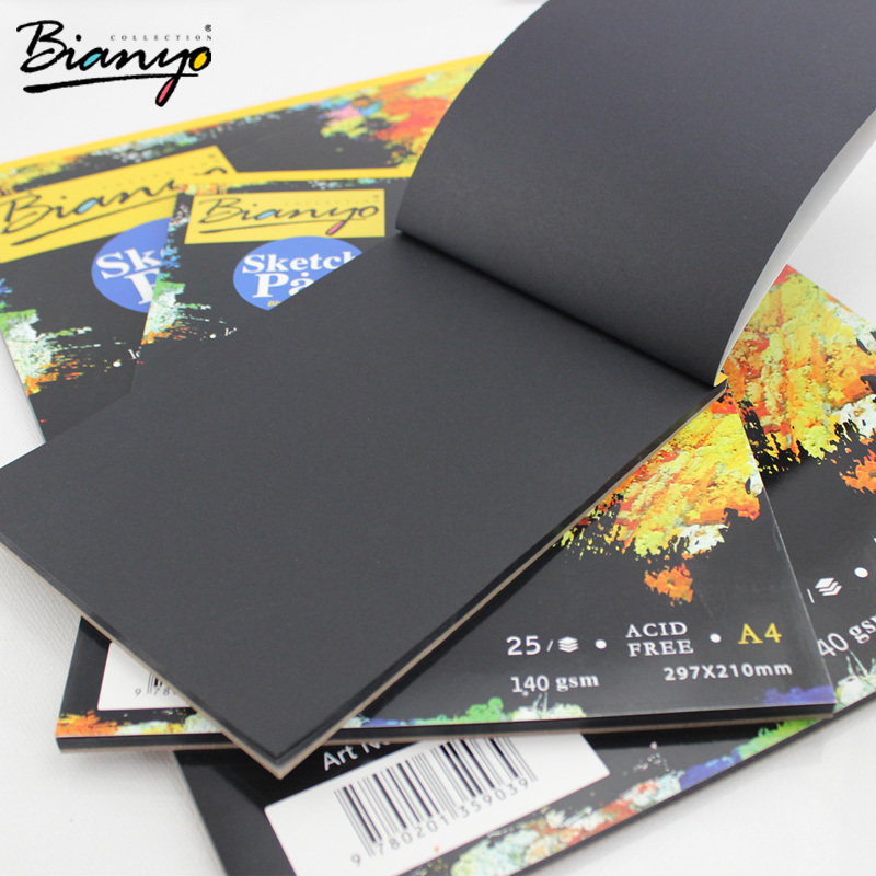 Bianyo 25 Sheet A4/A5 Black Paper Cardboard Notebook, Art Marker Sketch Book For Paiting Drawing Diary Journal Creative Gift