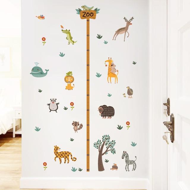 & zoo safari wild animals growth chart height measure wall sticker decorative kids baby nursery home decor decal poster mural