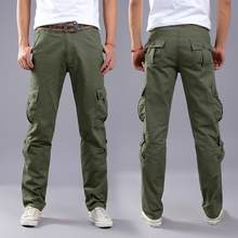Men's Pants 2018 Mens Army Trousers Multi-pocket Combat Zipper Cargo Waist Work Casual Pants july22(China)