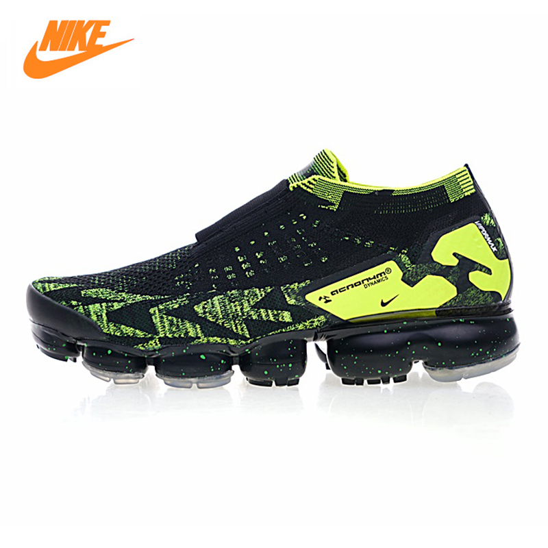 Nike Air Vapormax FK Moc 2 Acronym Men's Running Shoes, Outdoor Sneakers Shoes,Black & Green, Non-slip Breathable AQ0996 007