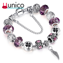 UUNICO Antique Silver Charm Bangles Lucky Clover Crystal Ball Women Bacelet Vale