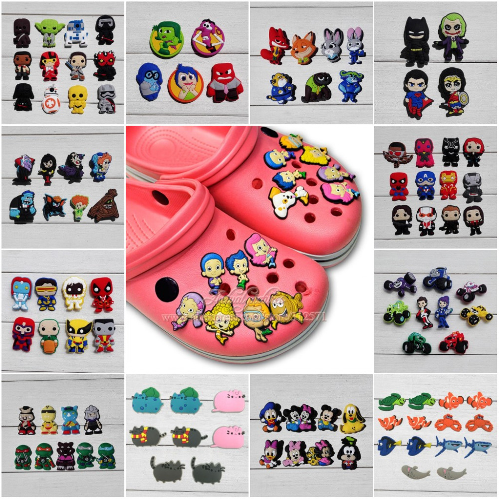 6-12pcs Avenger Star Wars Cool Cartoon PVC Shoe Charms Shoe Accessories Buckles For Wristbands Croc Decorations Jibz Party Gift