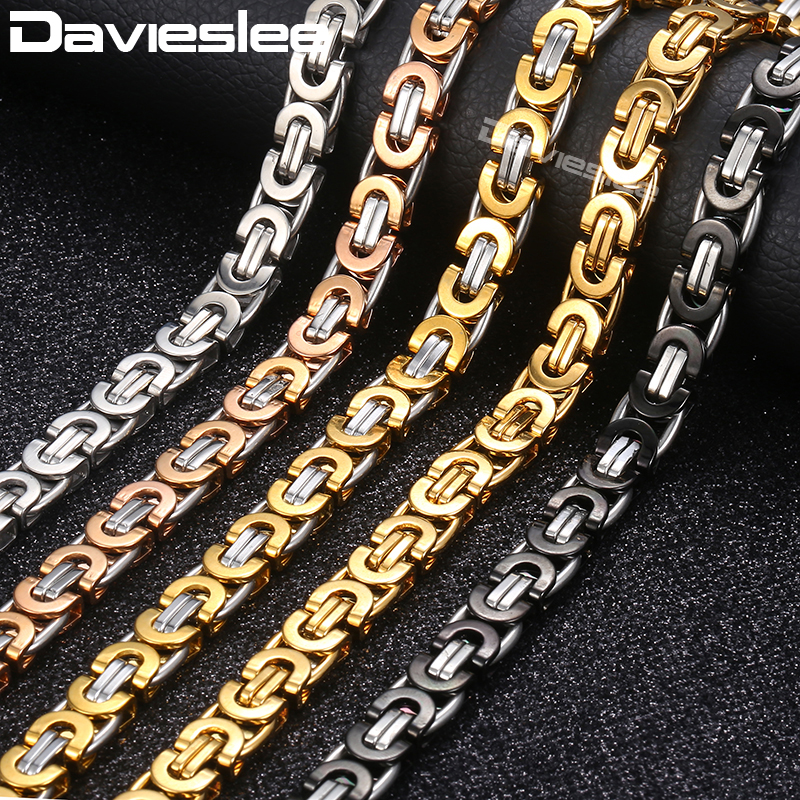Davieslee Necklace for Men Flat Byzantine Link Silver Black Gold Chain Stainless Steel Wholesale Vintage Jewelry 6/8/11mm LKNM22 engine aluminum front strut tower bar for bmw mini r55 r56