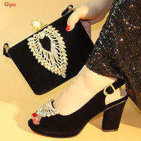 doershow Shoes and Bag Set African Sets 2019 black Color Italian Shoe Bag Set Decorated with Rhinestone High Quality!SLX1 1