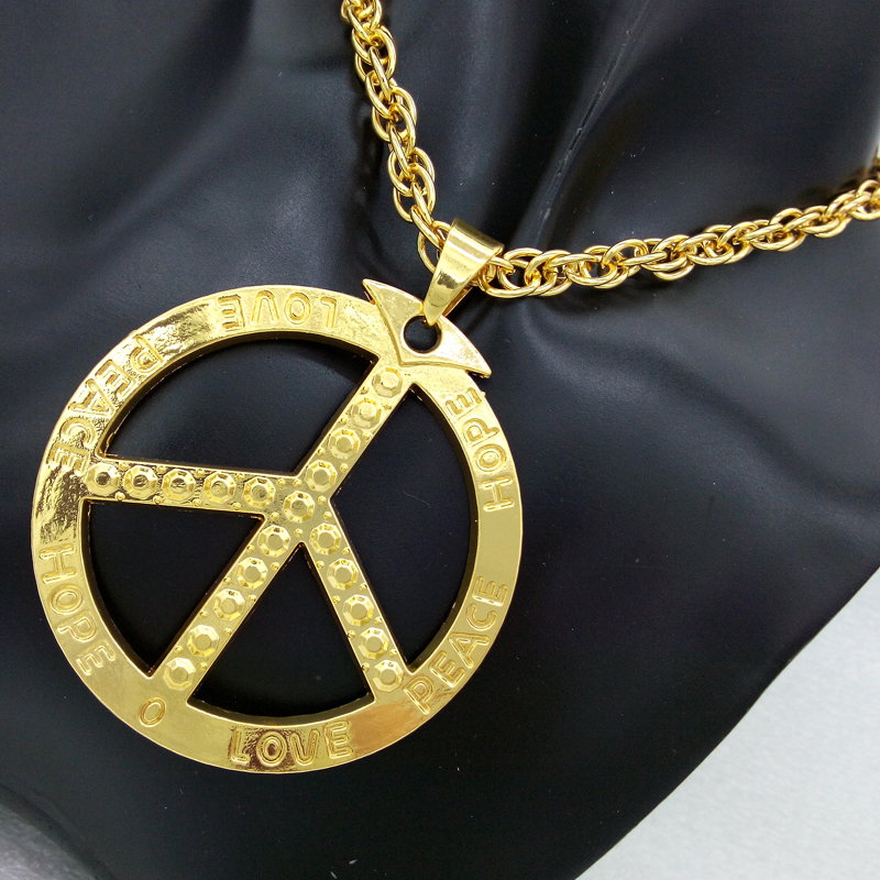 Hip hop mens rap goldsilver peace sign pendant necklace long body hip hop mens rap goldsilver peace sign pendant necklace long body chains necklaces pendants for men women jewelry bijoux in pendant necklaces from mozeypictures Image collections