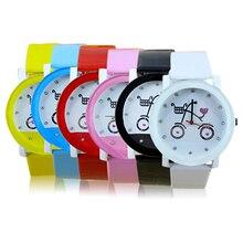 Hot Sales Lady Women Girls Wrist Watch Fashion Bicycle Pattern Faux Leather Strap Belt Quartz Cute