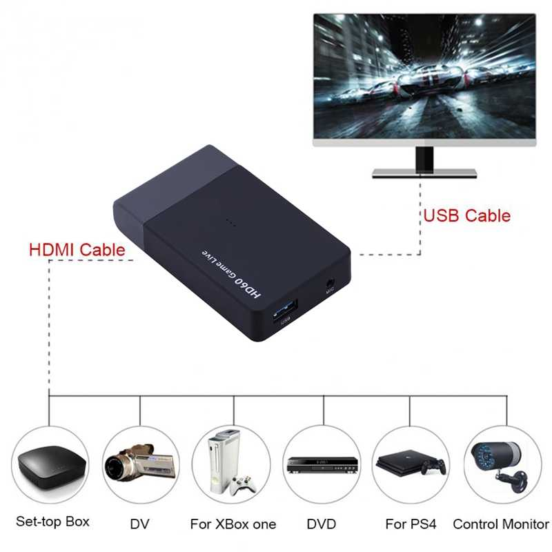 USB 3 0 Video Capture HD60 Game Live Streaming Broadcast Mic HDTV HDMI  Cable for XBOX One PS3 PS4 PC Phone AMCAP Vmix Wirecast