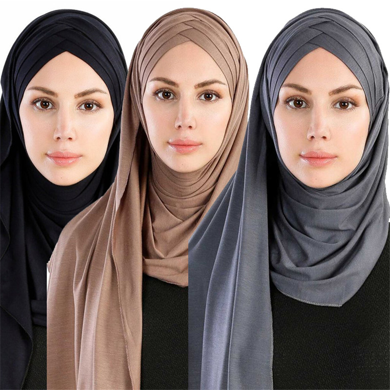 2019 Women Plain Instant Cotton Jersey Lightweight Hijab Scarf Muslim Under Scarf Full Cover Cap Islamic Clothing Arab Headwear