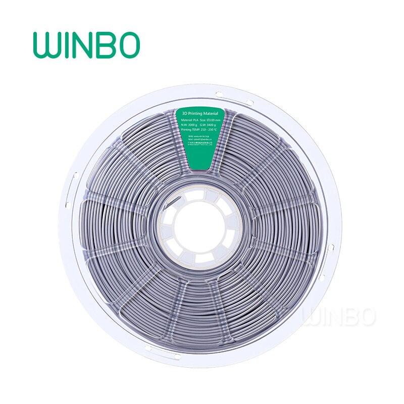 3D Printer PLA filament 3mm 3kg Silver Winbo 3D plastic filament Eco-friendly Food grade 3D printing material Free Shipping 1 75mm pla 3d printer filament printing refills 10m