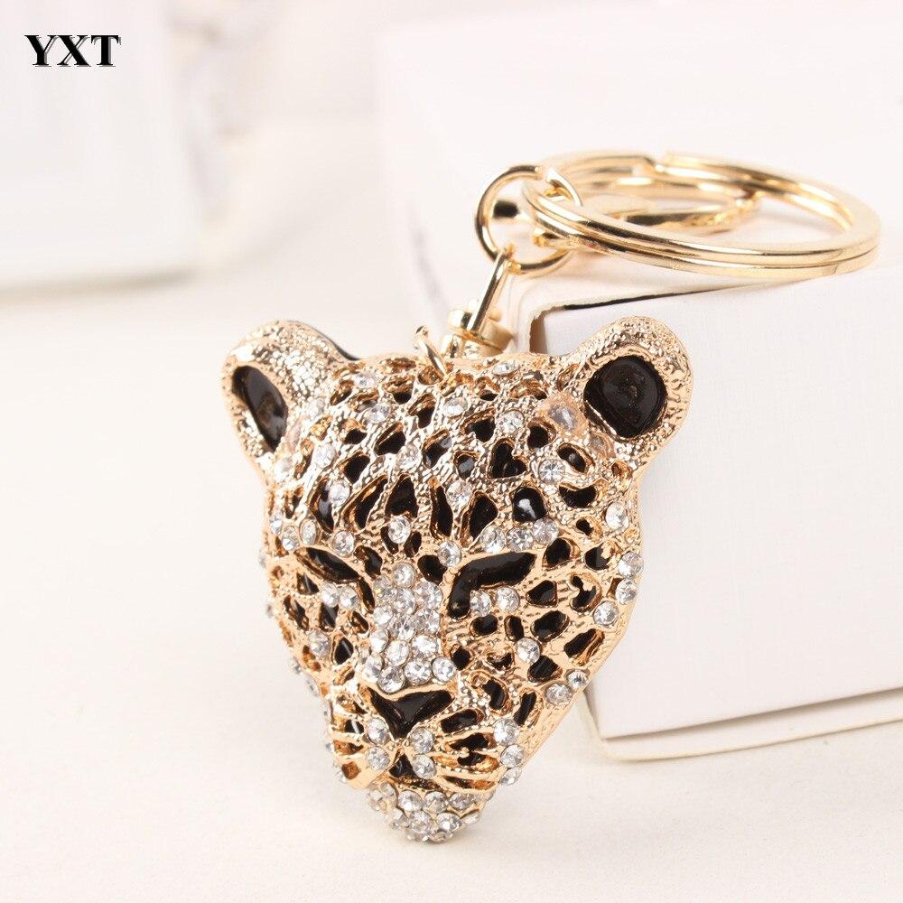 Leopard Lion Head Creative Cute Charm Pendant Purse Bag Crystal Car Key Ring Chain New Fashion Design Good Partner Basic