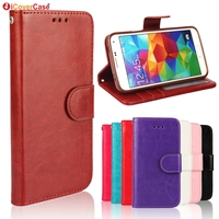 Crazy Horse PU Wallet Leather Case TPU Phone Cover For Samsung Galaxy S5 With Photo Holder