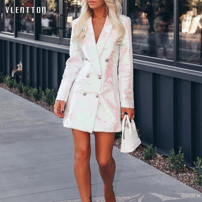 High Quality 2019 New Long Blazer Women Double Breasted Sequin Coat Female Spring Autumn Long Sleeve Office White Blazer Outwear