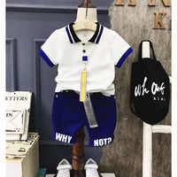 2PCS boys summer clothing set kids fashion letter printed shirt and blue short set baby casual turn down collar short sleeve top