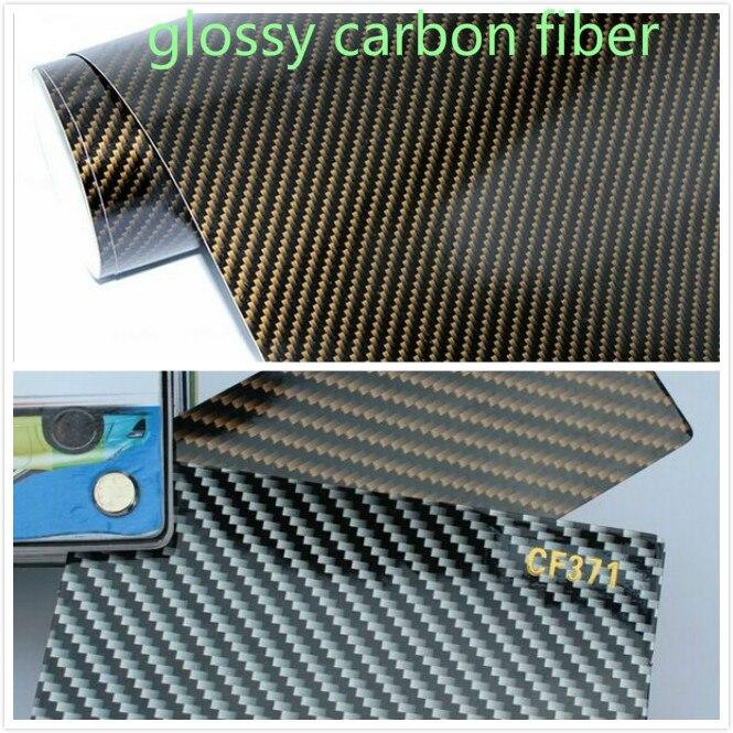 500mm x 1520mm Voiture Style Fiber De Carbone 2D Brillant En Fiber De Carbone vinyle Film Auto Emballage Vinyle Wrap Feuille Autocollant De Voiture Changement de Couleur