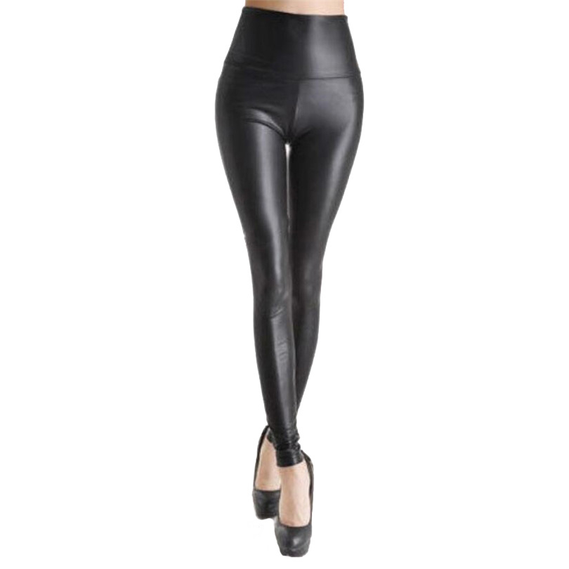 Image 3 - VISNXGI High Waist Faux Leather Leggings Women Hot Sexy Black Faux Leather Leggings Shiny Pants Stretchy Plus Size Trousers 2019-in Leggings from Women's Clothing