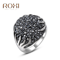 ROXI foreign trade for Korean style jewelry wholesale professional Austrian crystal white gold black ring