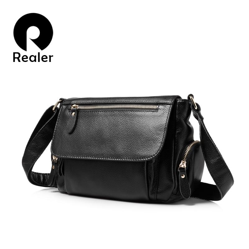 REALER brand fashion women genuine leather shoulder bag female luxury handbags women high quality messenger bags