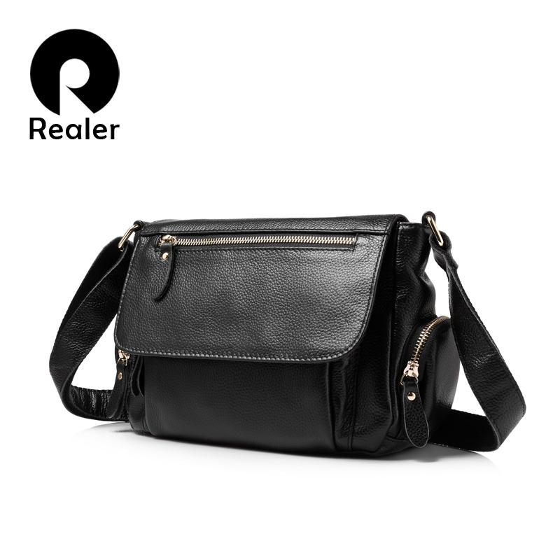 REALER brand fashion women genuine leather shoulder bag female luxury handbags women high quality messenger bags designer 2017-in Shoulder Bags from Luggage & Bags    1