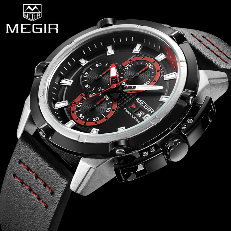 MEGIR Top Brand Luxury Men Quartz Sport Watch Army Military Watches Chronograph Clock Men Creative Watch Relogio Masculino 2062