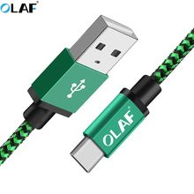 OLAF Braided USB Type C Cable Fast Charging usb c wire Type-c data cord charger cable For Samsung S9 S8 Plus Note 9 8 Xiaomi Mi8