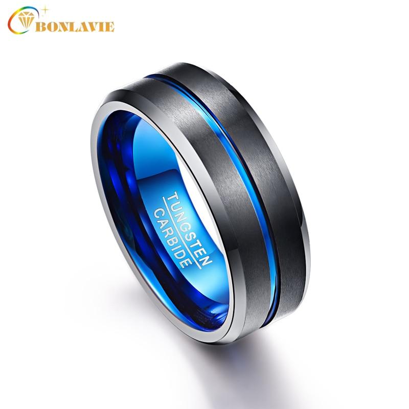 COPAUL 8mm Mens Black Tungsten Carbide Ring Matte Finish Beveled Blue Grooved Wedding Band