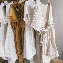 Платья для маленьких девочек; коллекция года; платье для маленьких девочек в европейском и американском стиле; Повседневная льняная одежда с оборками; милая детская одежда принцессы