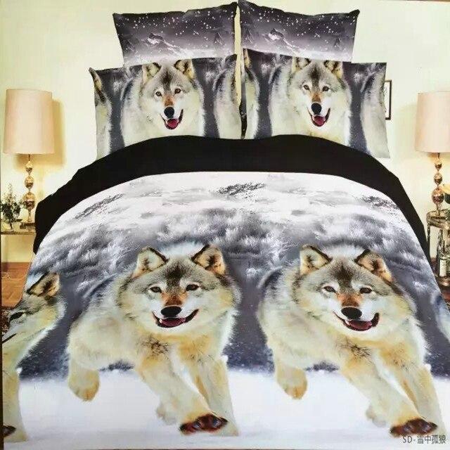 Medusa 3d волк король/королева/двойной размер 3/4 шт постельных принадлежностей одеяло/doona обложка простыня наволочки постельное белье набор
