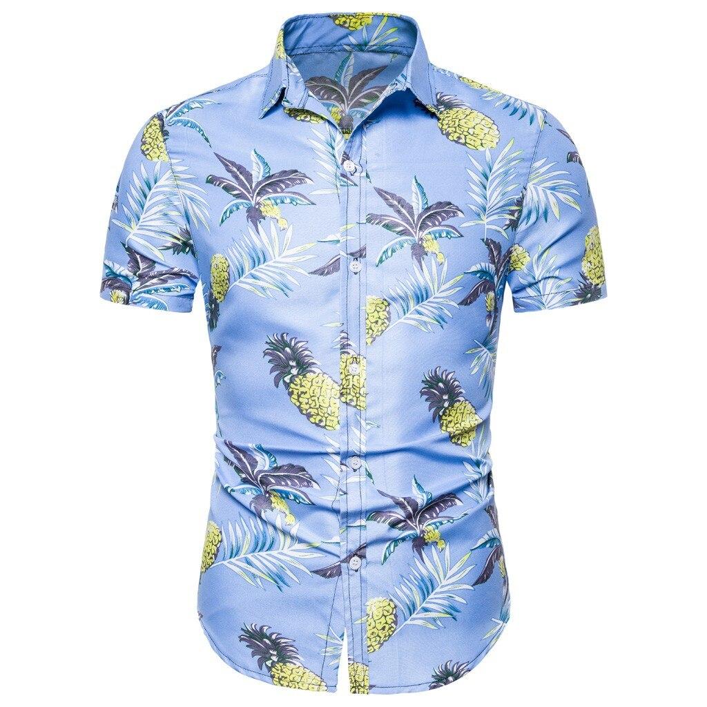 Men Shirt Summer Beach Boho Style Short Sleeve Shirts Casual Slim Fit Pineapple Printed Hawaiian Shirt Mens Streetwear Clothing