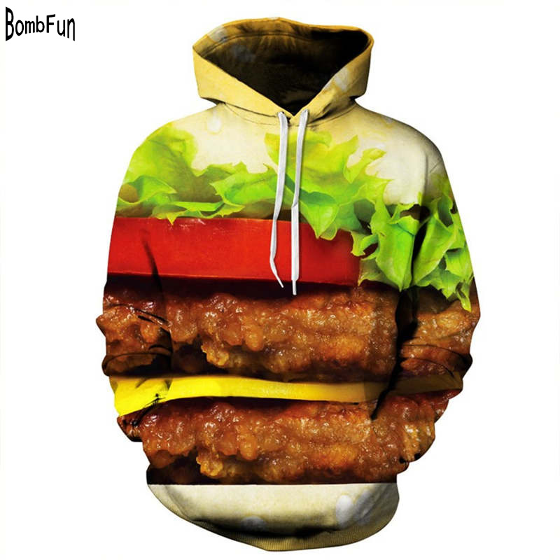 Pop Design Hamburger Food Hoodies Sweatshirts Hippie Style Tops Digital Print Mens And Womens Couples Personality Casual Hoodie
