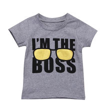 Летняя детская футболка для маленьких мальчиков детская повседневная хлопковая одежда с короткими рукавами и буквенным принтом для малышей топы, футболки, От 1 до 6 лет