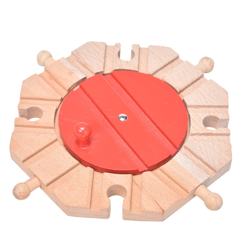 1PCS Miniature Wooden Train Switch Track Set Circular Turntable Educational Toys Boy/Kids Toy Fit Thomas And Brio