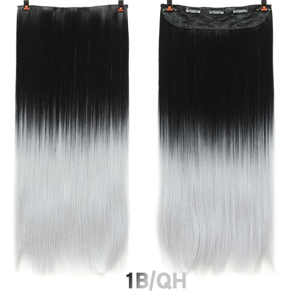 SHANGKE волосы 24 ''длинные прямые женские волосы на заколках для наращивания черный коричневый высокая температура Синтетические волосы кусок - Цвет: 8 #/27 #