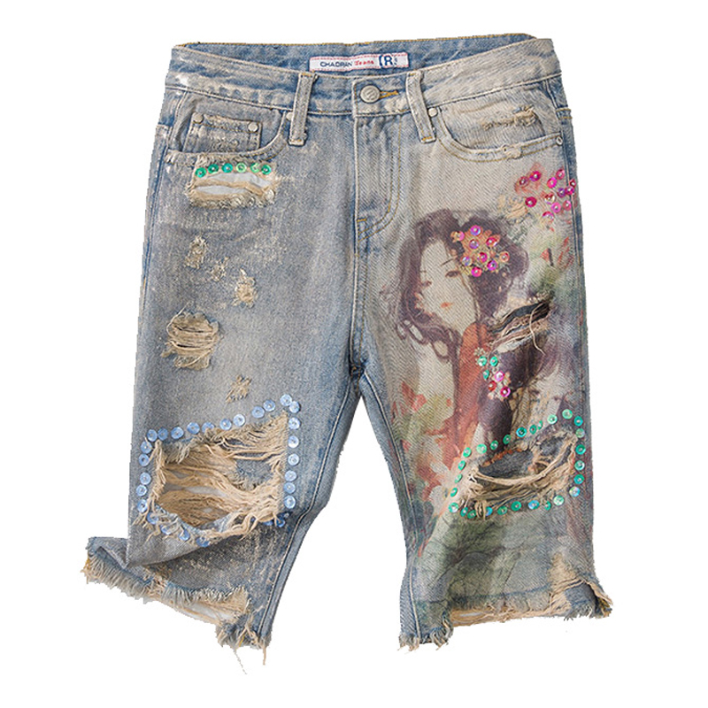 Summer Female Womens High Waisted Printed Ripped Hole Beads Sequined Tassel Denim Shorts , Korea Women Straight Jeans Shorts