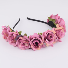CXADDITIONS Rose Headband Wedding Bridal Hair Band Accessories Bridesmaid Floral Flower Crown Festival Decor Princess Headpiece